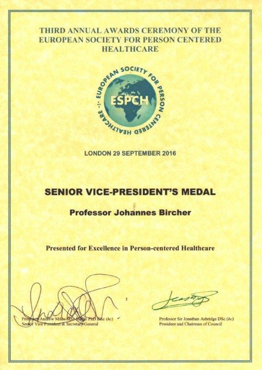Zeugnis zur Medaille mit dem ESPCH-Logo und dem Text: Senior Vice-President's Medal, Professor Johannes Bircher